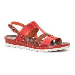 Chaussures femme été 2017 - sandales Dorking rouge marron