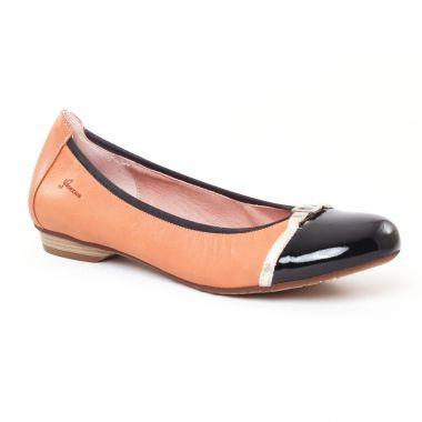 Ballerines Dorking Telma 7085 Beige Noir, vue principale de la chaussure femme