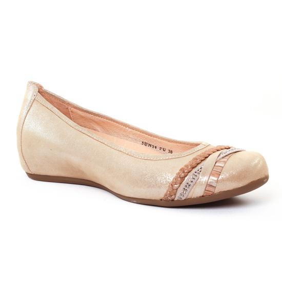 Ballerines Fugitive Ramiro Metal Beige, vue principale de la chaussure femme