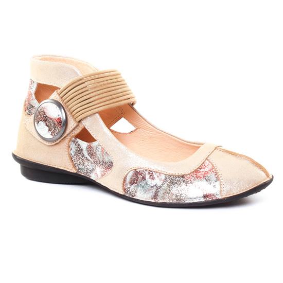 Ballerines Fugitive Uffy Metal Beige Flower, vue principale de la chaussure femme