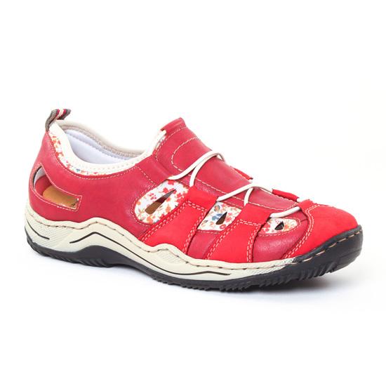 Tennis Et Baskets Mode Rieker L0561 Fire Rosso, vue principale de la chaussure femme