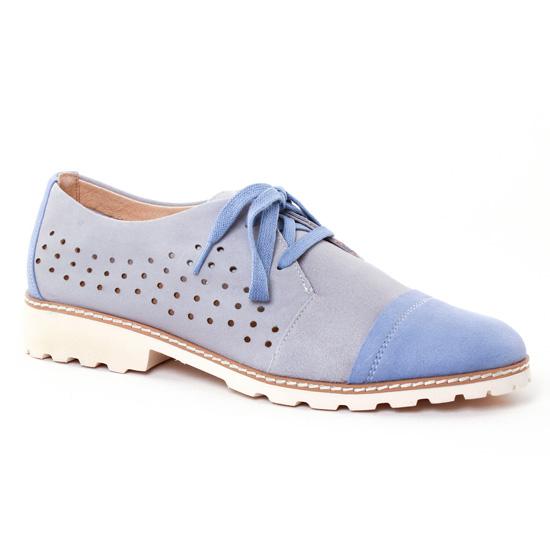Chaussures À Lacets Fugitive Woel Bleu Gris, vue principale de la chaussure femme