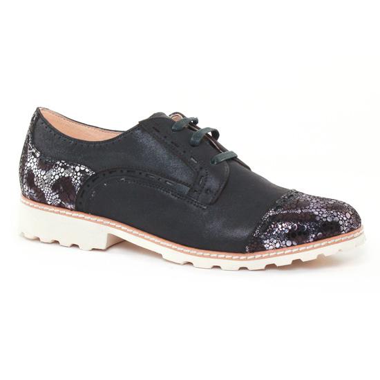 Chaussures À Lacets Fugitive Willer Noir Metal, vue principale de la chaussure femme