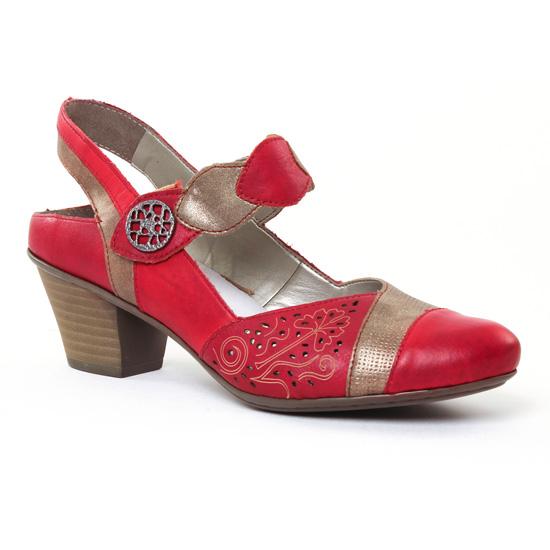 Escarpins Rieker 45175 Rosso Or, vue principale de la chaussure femme