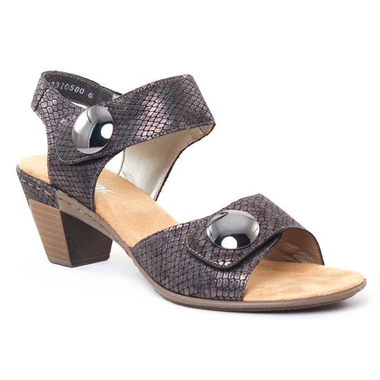 Nu Pieds Et Sandales Rieker 67369 Granit, vue principale de la chaussure femme