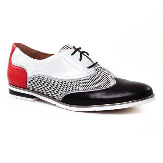 Chaussures À Lacets Mamzelle Colin Noir Blanc, vue principale de la chaussure femme