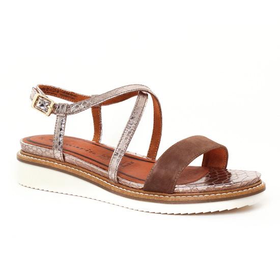 Platinum Marron 28206 Terra Tamaris Sandale Compensées Doré UqE8UAxw
