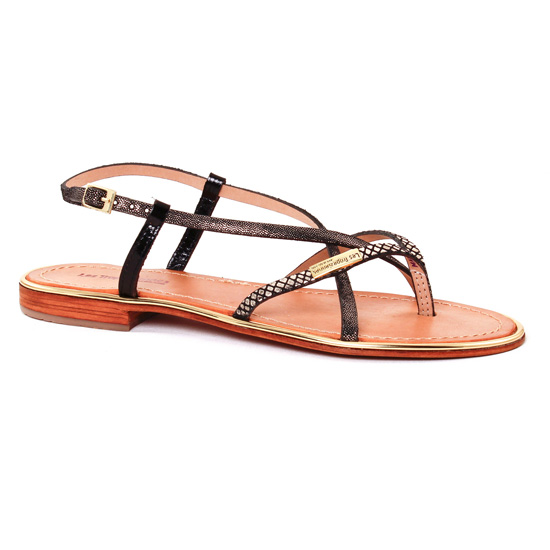 Nu Pieds Et Sandales Les Tropeziennes Monaco Noir Or, vue principale de la chaussure femme