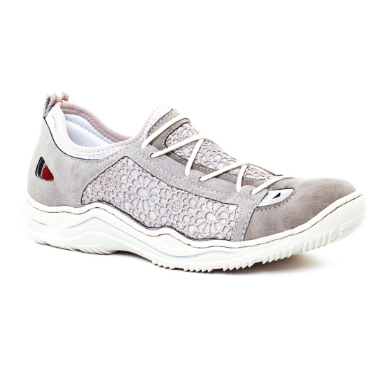 Tennis Et Baskets Mode Rieker L0571 Silver Flower, vue principale de la chaussure femme