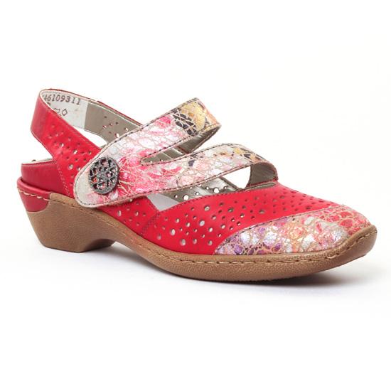 Babies Rieker 48382 rouge, vue principale de la chaussure femme