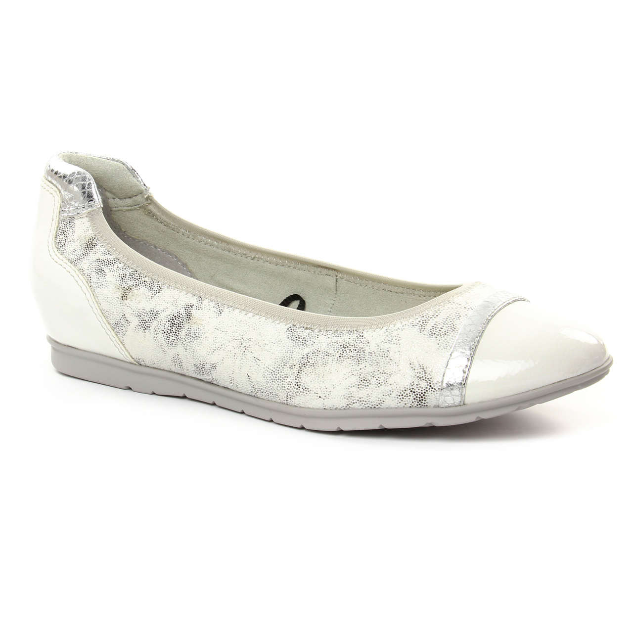 Tamaris 22109 White | ballerine confort blanc argent