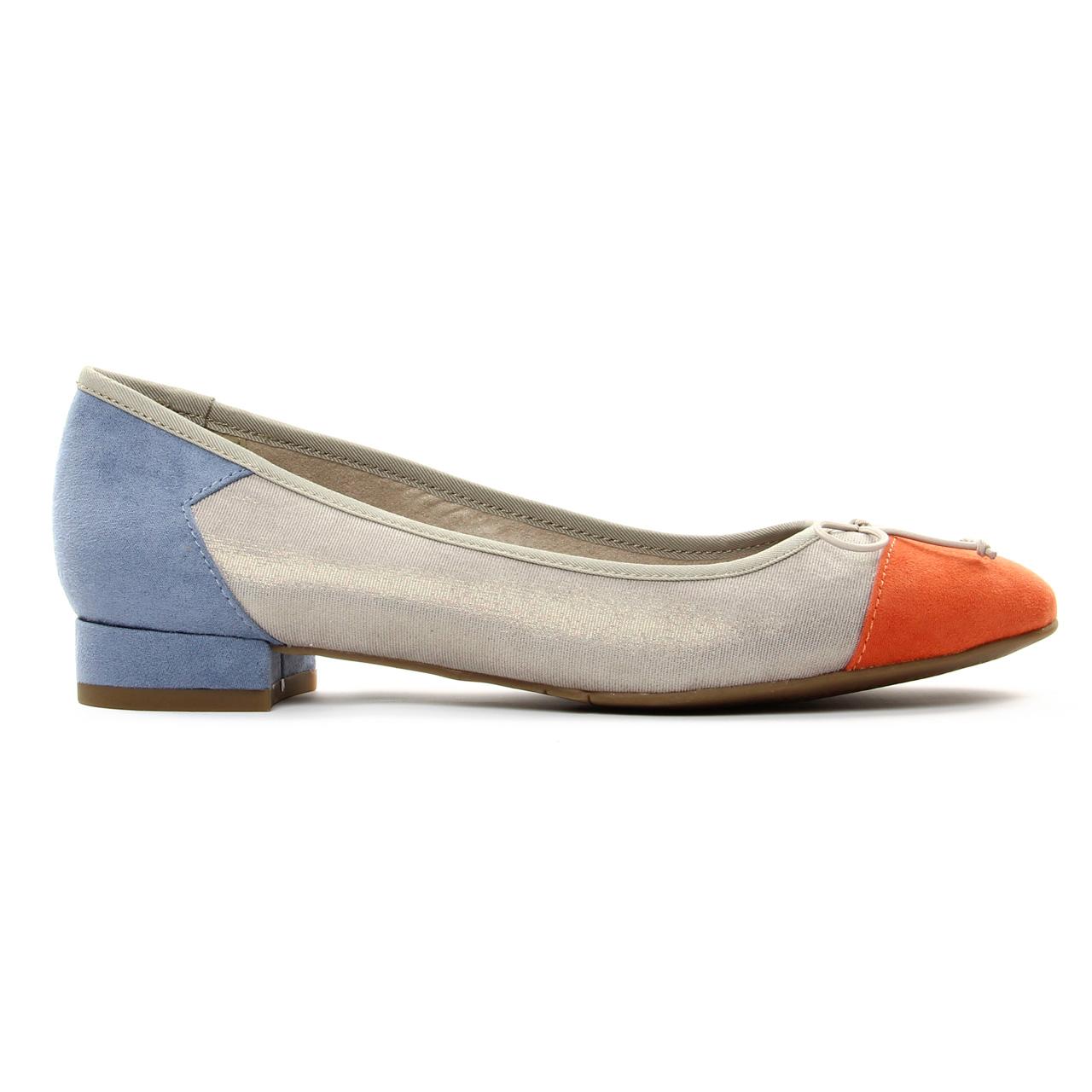Tamaris 22100 Cloud | ballerine confort orange argent bleu