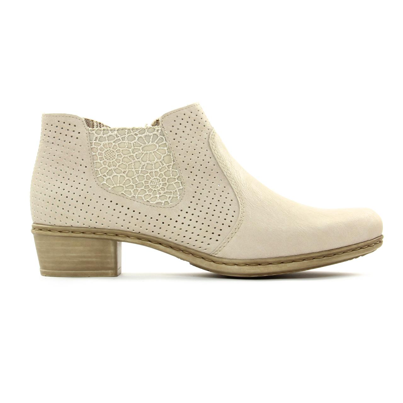 Rieker M0757 Off White   low boots beige clair printemps été chez ... 5205f8ca5741