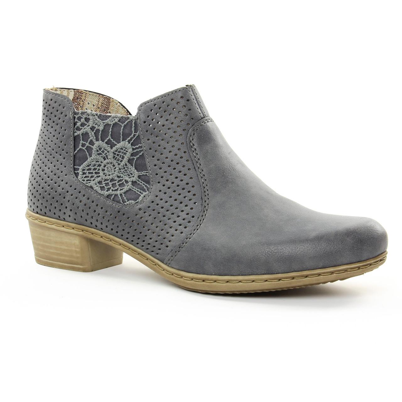 4e1328b695852f Rieker M0757 Jeans | low boots bleu gris printemps été chez TROIS PAR 3