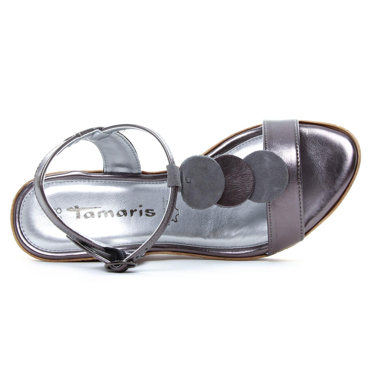 Tamaris 28363 Pewter | nu pied compensés gris argent