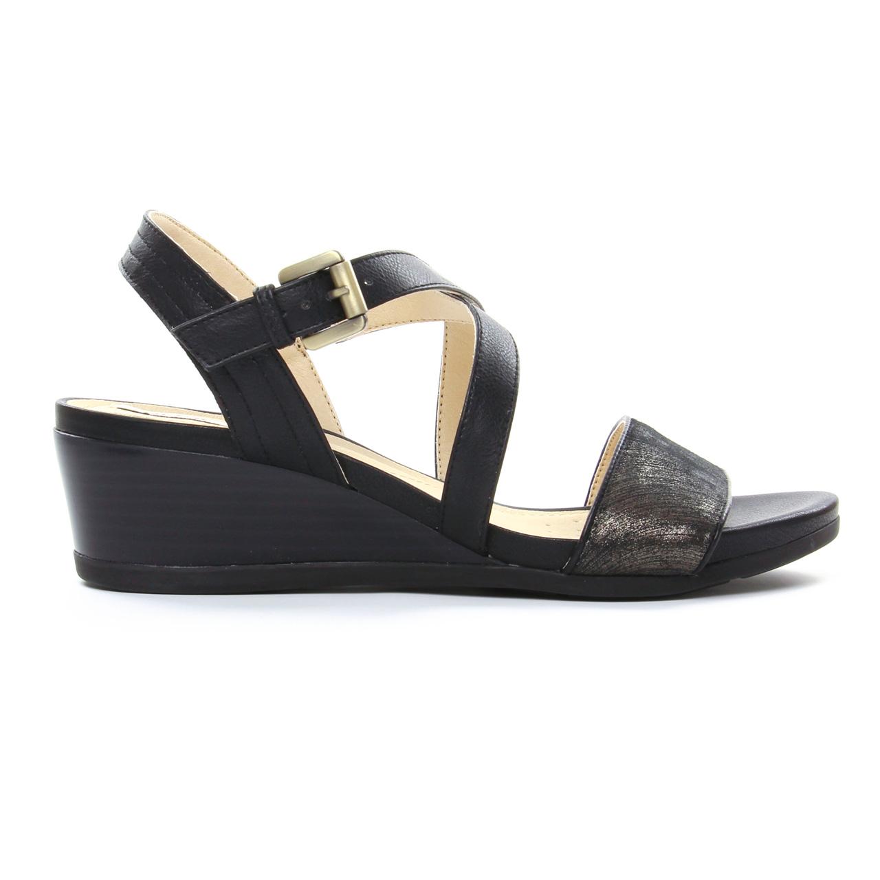 Geox D828Qa Black | nu pied compensés noir bronze printemps