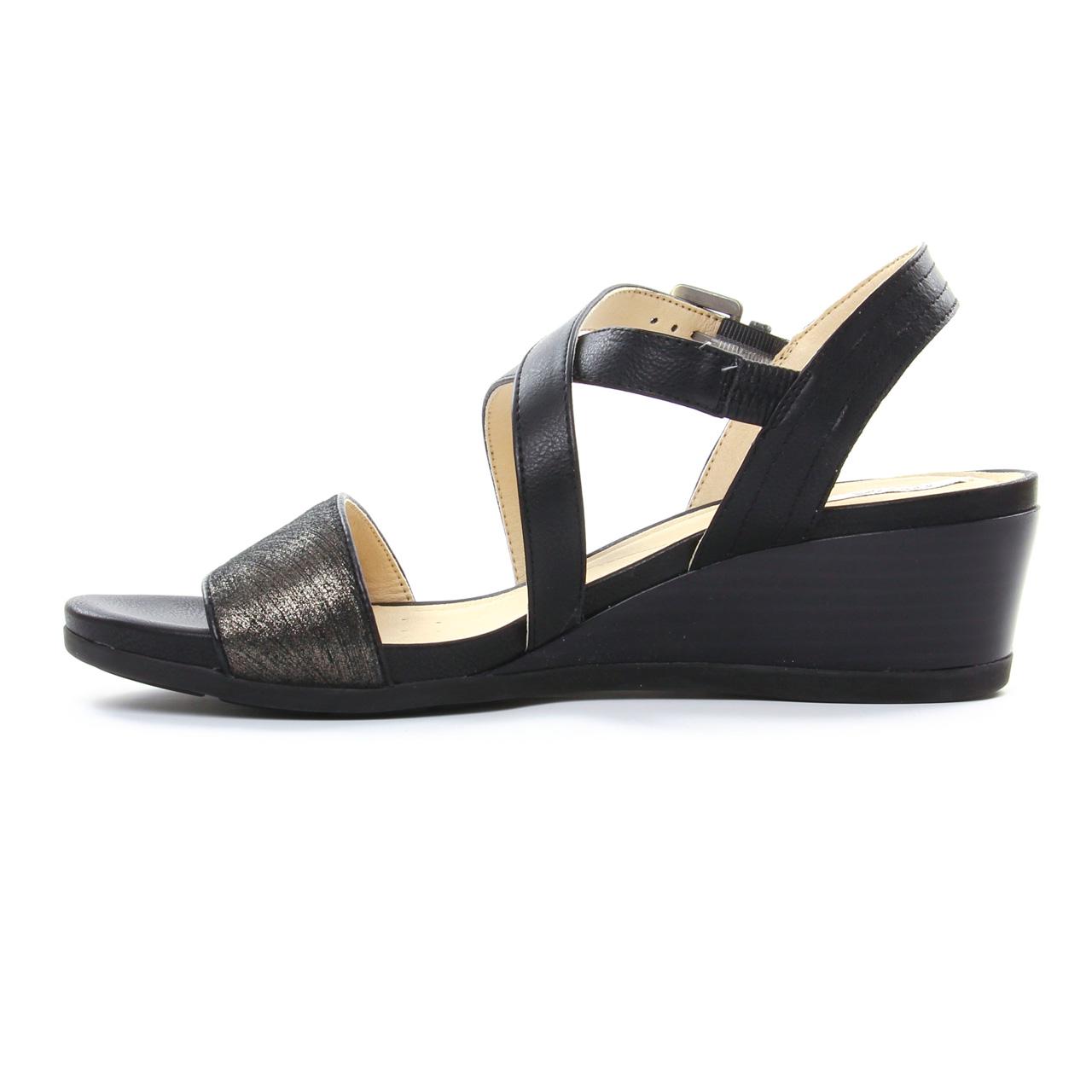0d6deff5885af4 Geox D828Qa Black | nu-pied compensés noir bronze printemps été chez ...