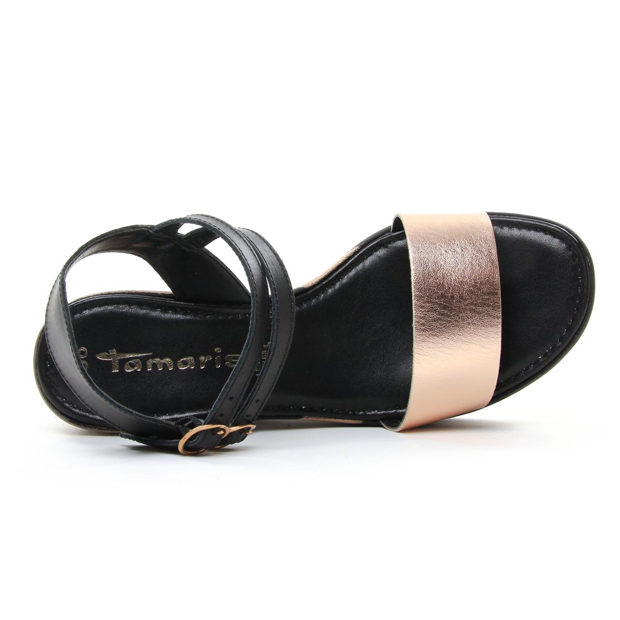 Tamaris 28367 Black | nu-pied compensés noir rose printemps