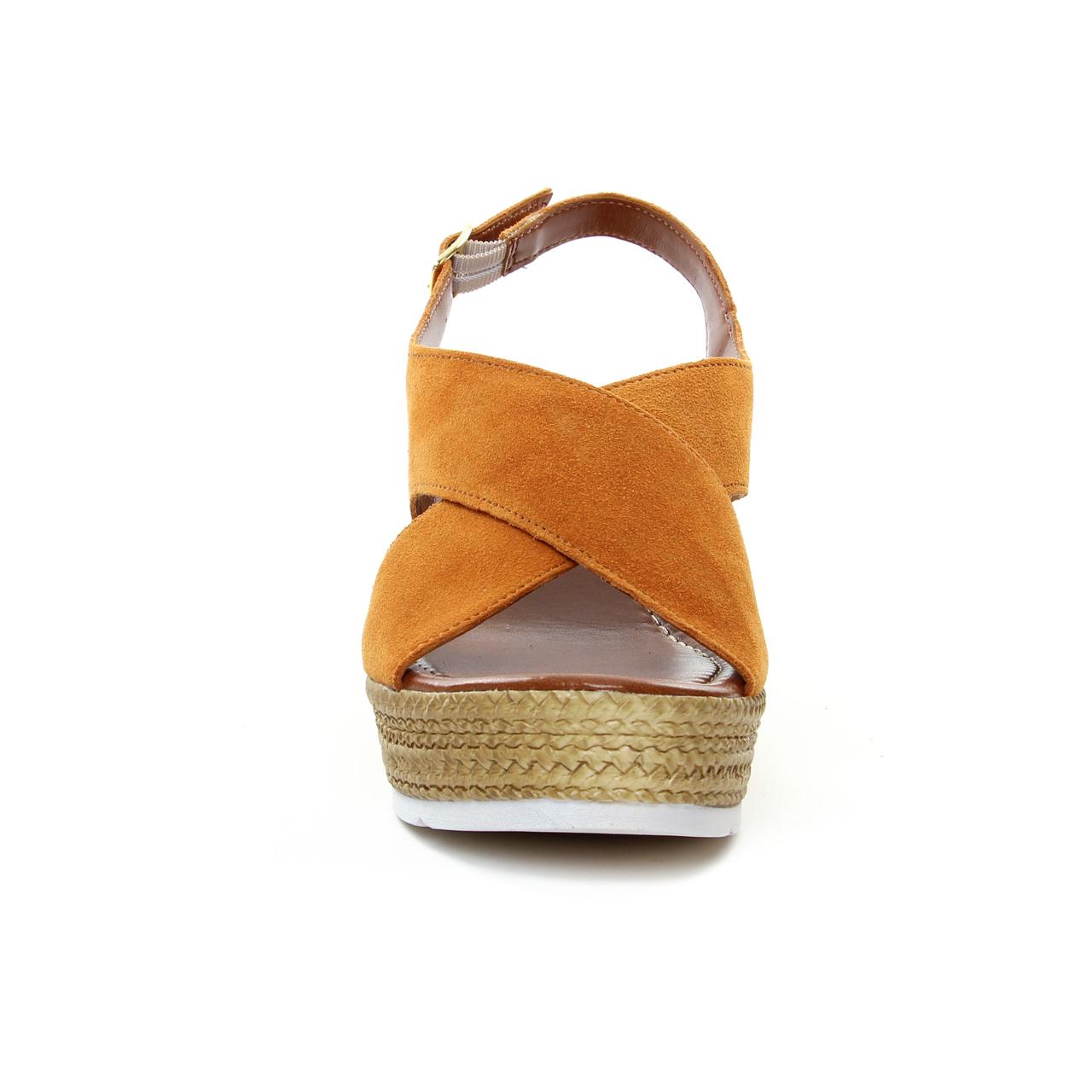 972df6a89ced nu-pieds semelle corde orange marron mode femme printemps été vue 6