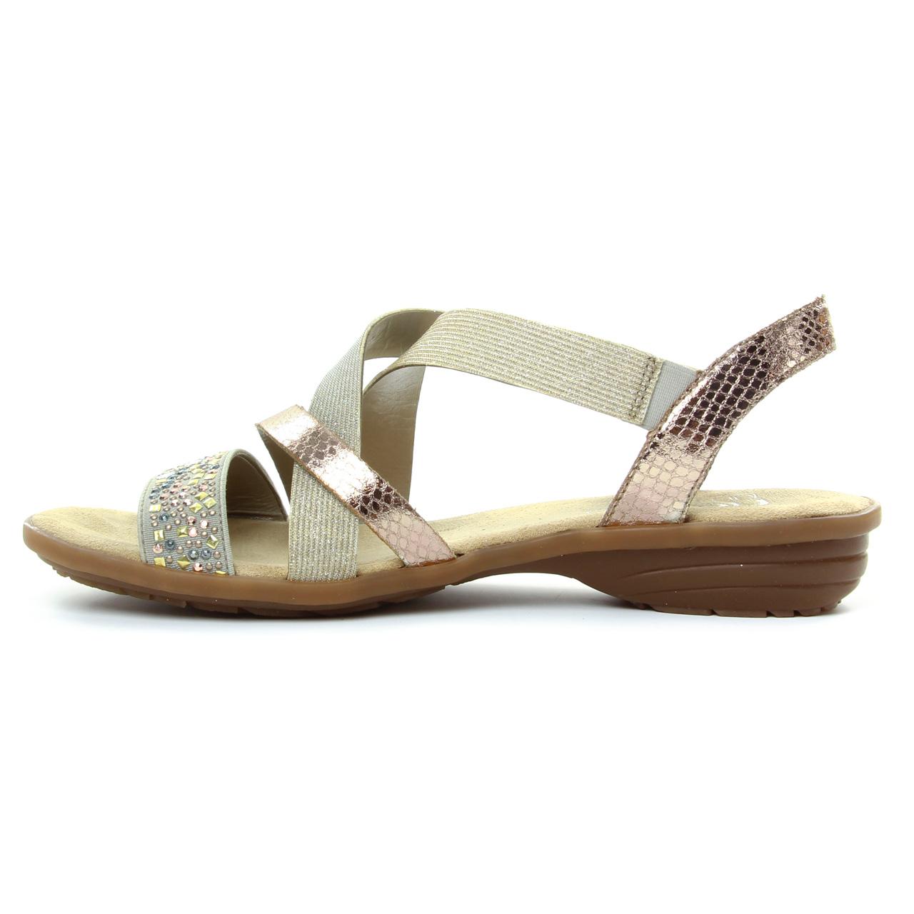Rieker V3463 Beige   sandales beige doré printemps été chez