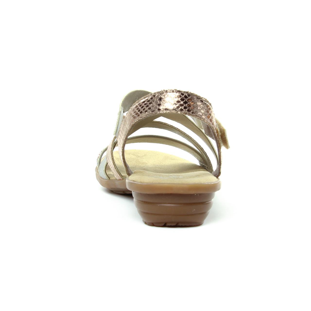 1b78f93ddd6d2b Rieker V3463 Beige | sandales beige doré printemps été chez TROIS PAR 3