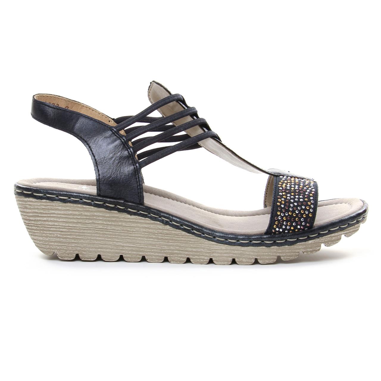fe970c6b9ecd4 sandales compensées bleu marine mode femme printemps été vue 2