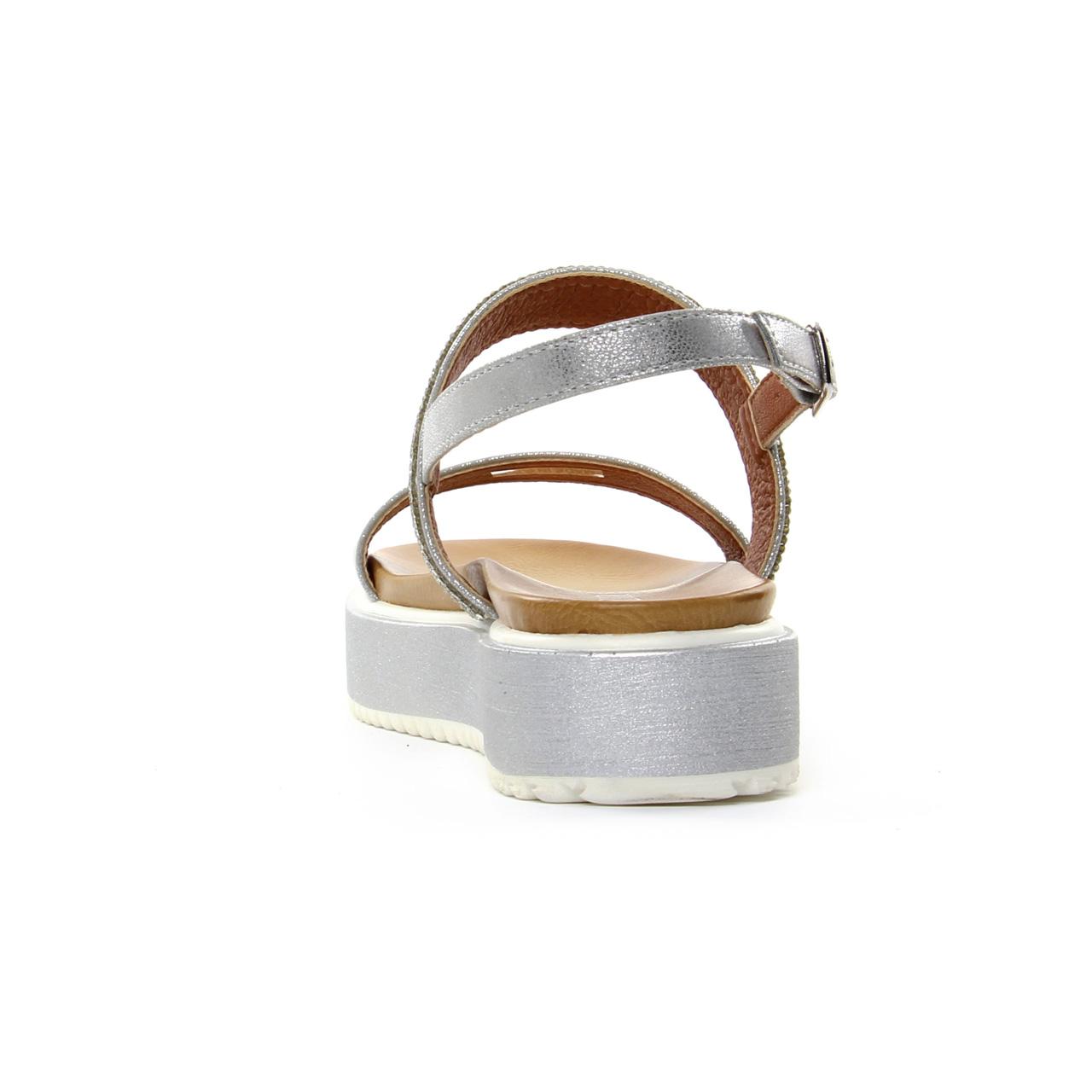 612c7c08338 sandales compensées gris argent mode femme printemps été vue 7