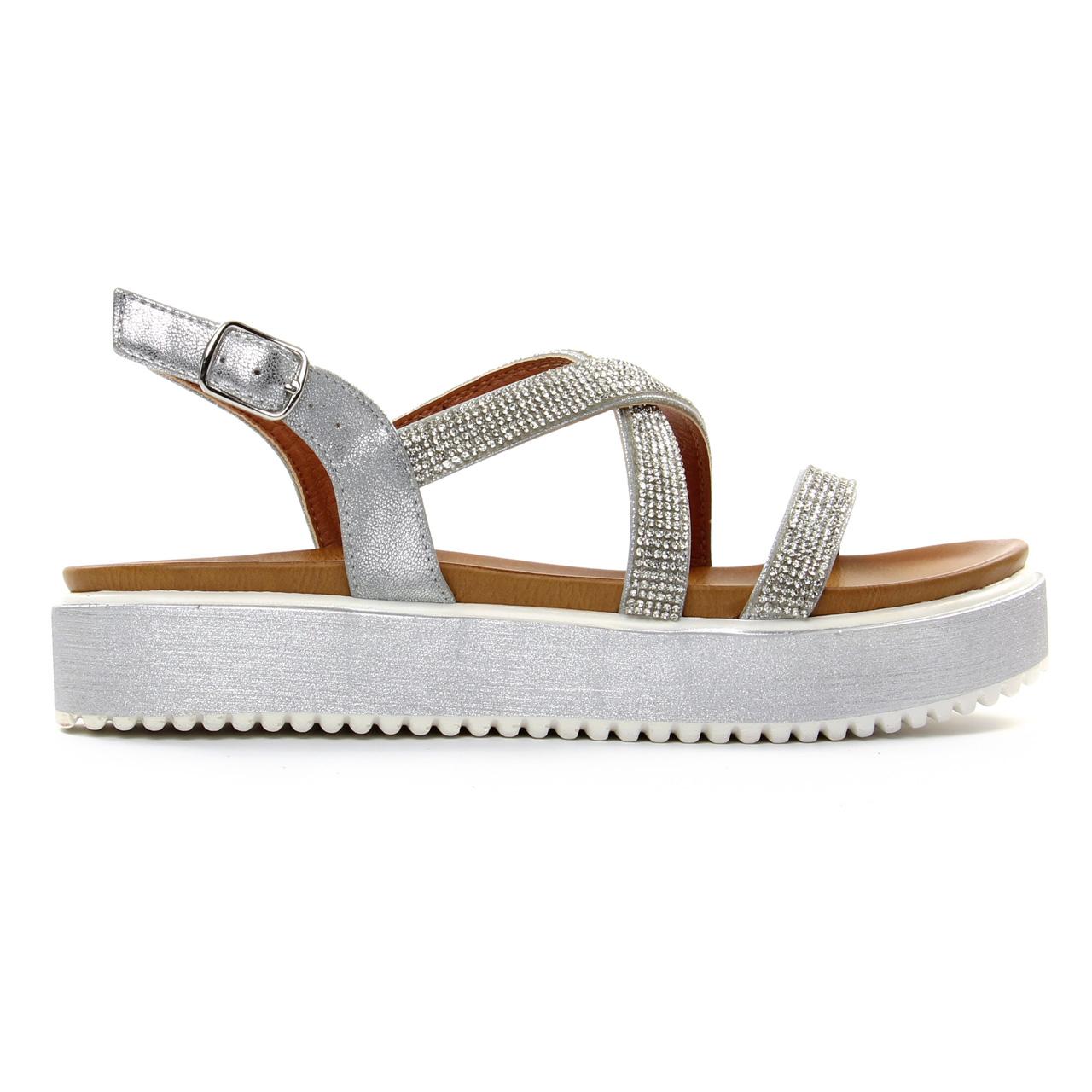 febe71cfc4c sandales compensées gris argent mode femme printemps été vue 2