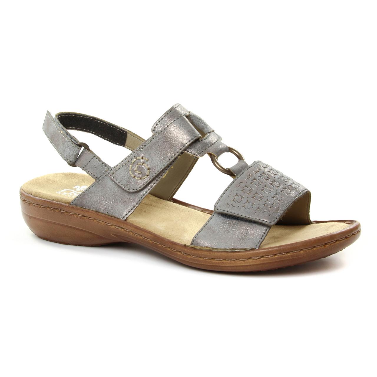 Rieker 60887 Grey   sandales gris argent printemps été chez