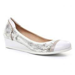 ballerines-talons-compenses blanc argent: même style de chaussures en ligne pour femmes que les Tamaris