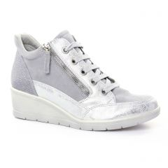 baskets-compensees gris argent: même style de chaussures en ligne pour femmes que les Tamaris