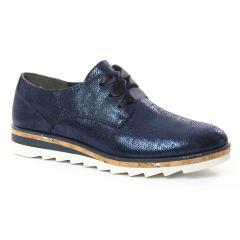 Chaussures femme été 2018 - derbys compensées marco tozzi bleu marine