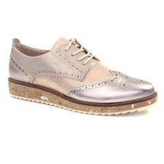 Chaussures femme été 2018 - derbys compensées marco tozzi rose doré