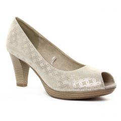 escarpins-bout-ouvert beige doré: même style de chaussures en ligne pour femmes que les Marco Tozzi