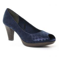 escarpins-bout-ouvert bleu marine: même style de chaussures en ligne pour femmes que les Marco Tozzi
