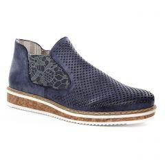 Chaussures femme été 2018 - low boots rieker bleu marine