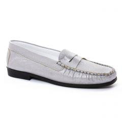 mocassins gris argent: même style de chaussures en ligne pour femmes que les Geo Reino