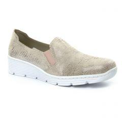 mocassins rose beige doré: même style de chaussures en ligne pour femmes que les Rieker