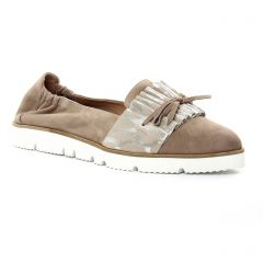 mocassins-slippers beige doré: même style de chaussures en ligne pour femmes que les Pintodiblu