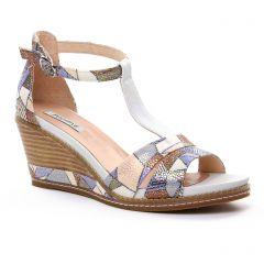 nu-pieds-talons-compenses bleu multi: même style de chaussures en ligne pour femmes que les Fugitive