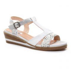 nu-pieds-talons-compenses blanc argent: même style de chaussures en ligne pour femmes que les Fugitive