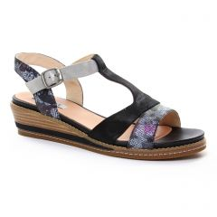 nu-pieds-talons-compenses noir argent: même style de chaussures en ligne pour femmes que les Fugitive