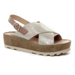 nu-pieds-talons-compenses beige argent: même style de chaussures en ligne pour femmes que les Mamzelle