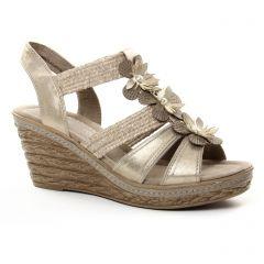 nu-pieds-talons-compenses beige doré: même style de chaussures en ligne pour femmes que les Marco Tozzi