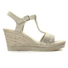 nu-pieds-talons-compenses beige doré: même style de chaussures en ligne pour femmes que les Maria Jaén
