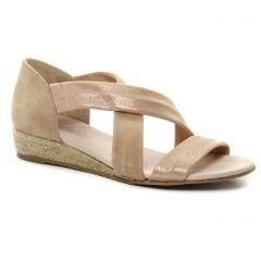espadrilles-compensees beige doré: même style de chaussures en ligne pour femmes que les Scarlatine
