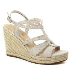 nu-pieds-talons-compenses beige doré: même style de chaussures en ligne pour femmes que les Tamaris