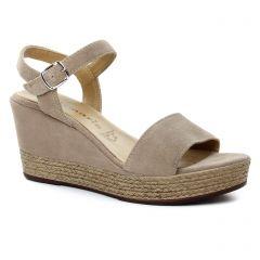 nu-pieds-talons-compenses beige: même style de chaussures en ligne pour femmes que les Tamaris