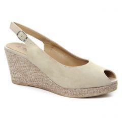 espadrilles-compensees beige: même style de chaussures en ligne pour femmes que les Tamaris