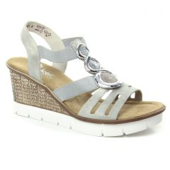 Chaussures femme été 2018 - nu-pieds compensés rieker blanc argent